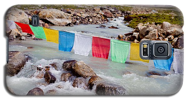 Mountain River And Buddhist Flags Lungta  Galaxy S5 Case