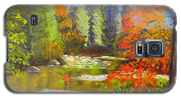 Galaxy S5 Case featuring the painting Mountain Stream by Pamela  Meredith