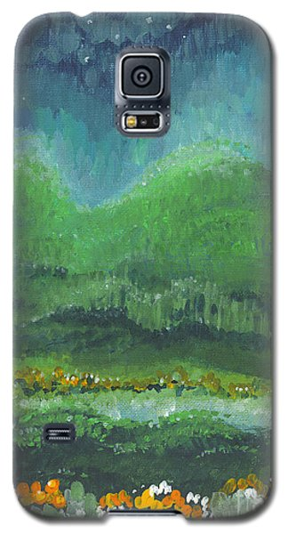Galaxy S5 Case featuring the painting Mountains At Night by Holly Carmichael