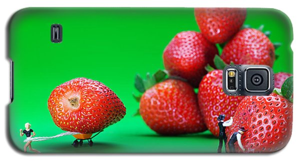 Galaxy S5 Case featuring the photograph Moving Strawberries To Depict Friction Food Physics by Paul Ge