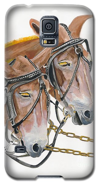 Galaxy S5 Case featuring the painting Mules - Two - Beast Of Burden by Jan Dappen