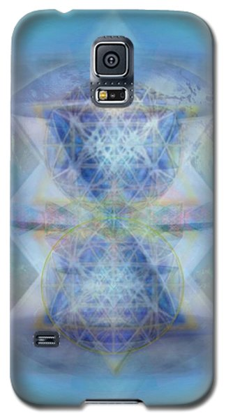 Galaxy S5 Case featuring the digital art Multivortex 3d Chalice With Horizontal Vortexes Over The Earth by Christopher Pringer