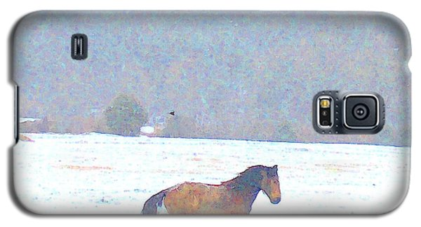 Galaxy S5 Case featuring the photograph Mustang Freedom Gallop In April Snow by Anastasia Savage Ealy