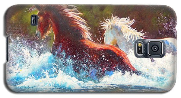 Galaxy S5 Case featuring the painting Mustang Splash by Karen Kennedy Chatham