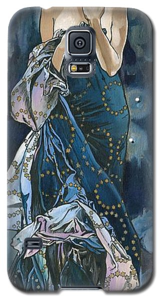 Galaxy S5 Case featuring the painting My Acrylic Painting As An Interpretation Of The Famous Artwork Of Alphonse Mucha - Moon - by Elena Yakubovich