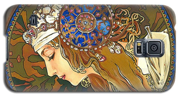 My Acrylic Painting As Interpretation Of Alphonse Mucha- Byzantine Head. The Blonde. Diagonal Frame. Galaxy S5 Case