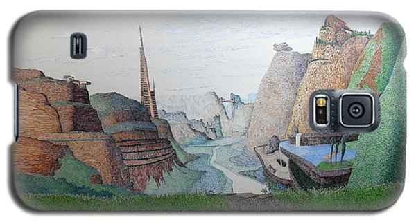Galaxy S5 Case featuring the painting My Bigger Back Yard by A  Robert Malcom