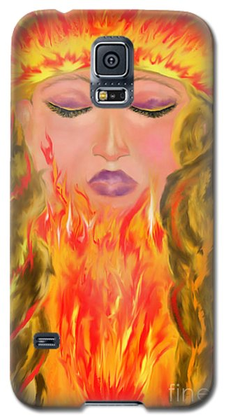 Galaxy S5 Case featuring the painting My Burning Within by Lori  Lovetere