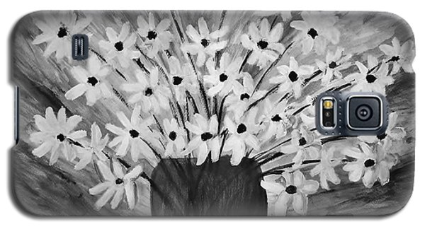 Galaxy S5 Case featuring the painting My Daisies Black And White Version by Ramona Matei