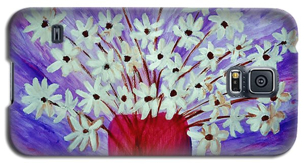 Galaxy S5 Case featuring the painting My Daisies Blue Version by Ramona Matei