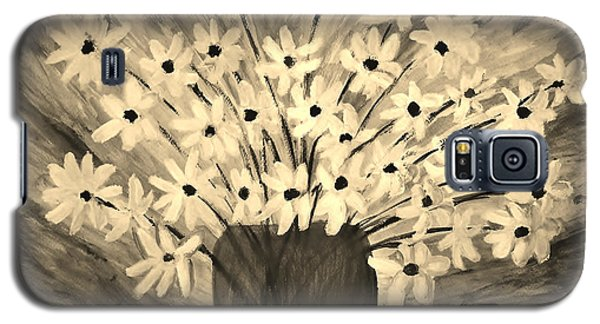 Galaxy S5 Case featuring the painting My Daisies Sepia Version by Ramona Matei