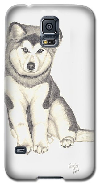 Galaxy S5 Case featuring the drawing My Husky Puppy-misty by Patricia Hiltz