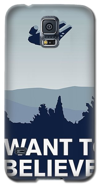My I Want To Believe Minimal Poster-millennium Falcon Galaxy S5 Case by Chungkong Art