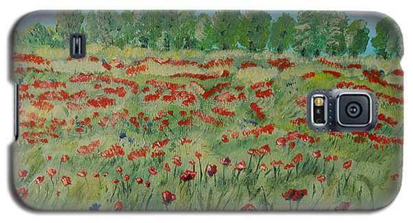 Galaxy S5 Case featuring the painting My Poppies Field by Felicia Tica