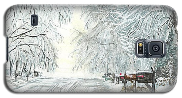 Galaxy S5 Case featuring the painting My Slippery Street  by Carol Wisniewski