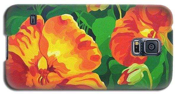 Galaxy S5 Case featuring the painting Nasturtiums by Karen Ilari