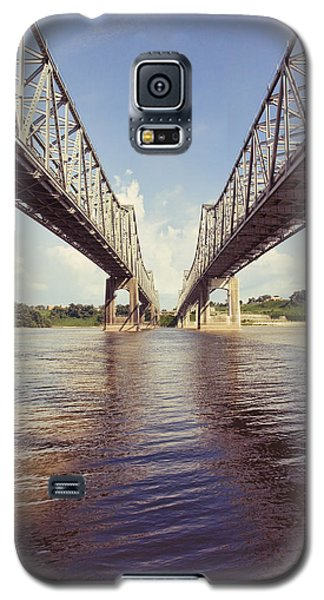 Galaxy S5 Case featuring the photograph Natchez Bridges Crossing The Mississippi by Ray Devlin