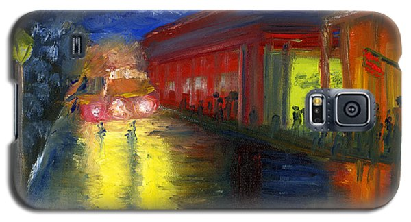 Galaxy S5 Case featuring the painting Natchitoches Louisiana Mardi Gras Parade At Night by Lenora  De Lude
