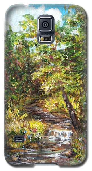 Galaxy S5 Case featuring the painting Nature River Painting by Luczay