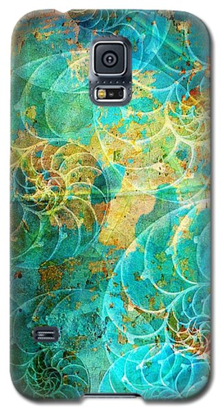 Nautilus Seashells In Aqua Galaxy S5 Case by Suzanne Powers
