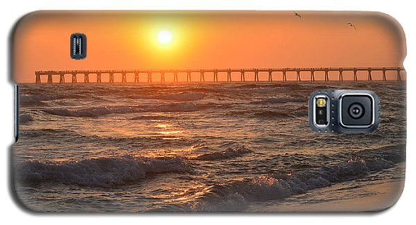 Navarre Beach And Pier Sunset Colors With Birds And Waves Galaxy S5 Case by Jeff at JSJ Photography