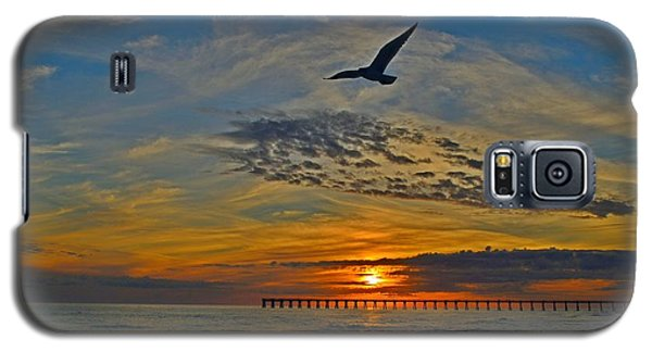 Galaxy S5 Case featuring the photograph Navarre Beach And Pier Sunset Colors With Gulls And Waves by Jeff at JSJ Photography