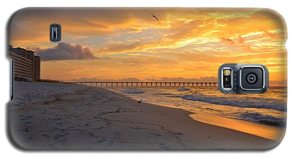 Navarre Pier And Navarre Beach Skyline At Sunrise With Gulls Galaxy S5 Case by Jeff at JSJ Photography