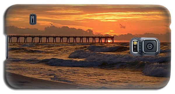 Navarre Pier At Sunrise With Waves Galaxy S5 Case by Jeff at JSJ Photography