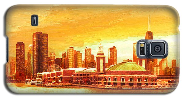 Galaxy S5 Case featuring the painting Navy Pier Chicago --autumn by Doug Kreuger