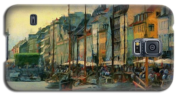 Galaxy S5 Case featuring the painting Nayhavn Street by Jeff Kolker