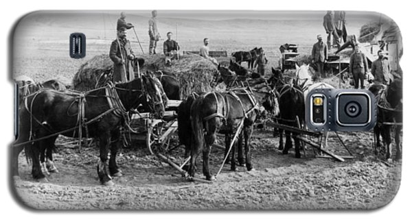 Galaxy S5 Case featuring the photograph Nebraska Threshing, 1886 by Granger