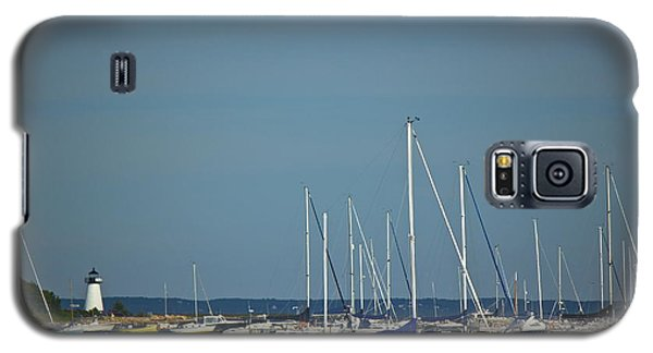Galaxy S5 Case featuring the photograph Ned's Point Lighthouse With Sailboats by Amazing Jules