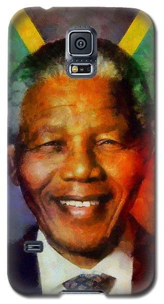 Galaxy S5 Case featuring the digital art Nelson Mandela 1918-2013 by Kai Saarto