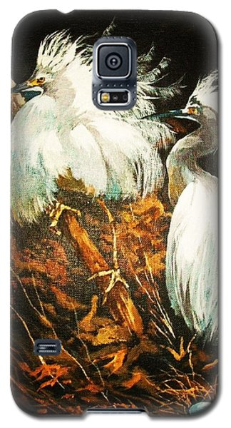 Galaxy S5 Case featuring the painting Nesting Egrets by Al Brown