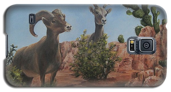 Galaxy S5 Case featuring the painting Nevada Big Horns by Roseann Gilmore