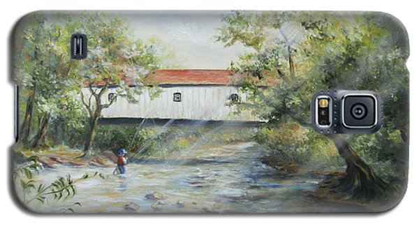 Galaxy S5 Case featuring the painting New Jersey's Last Covered Bridge by Luczay