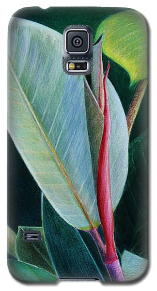Galaxy S5 Case featuring the painting New Leaf Emerging. by Mariarosa Rockefeller