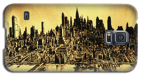 New York Skyline 78 - Mid Manhattan Ink Watercolor Painting Galaxy S5 Case