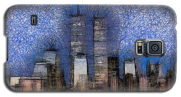 New York City Blue And White Skyline Galaxy S5 Case by Georgi Dimitrov