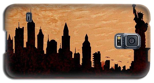 New York City Sunset Silhouette Galaxy S5 Case by Georgeta  Blanaru