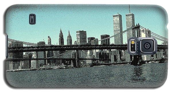 New York Downtown Manhattan Skyline - Blue Panorama Galaxy S5 Case