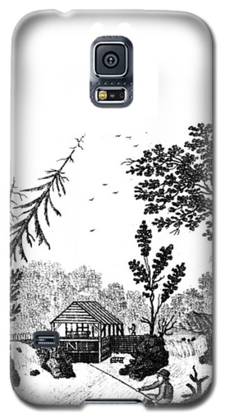 Galaxy S5 Case featuring the painting New York Saw Mill, 1792 by Granger