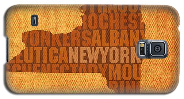 New York Word Art State Map On Canvas Galaxy S5 Case