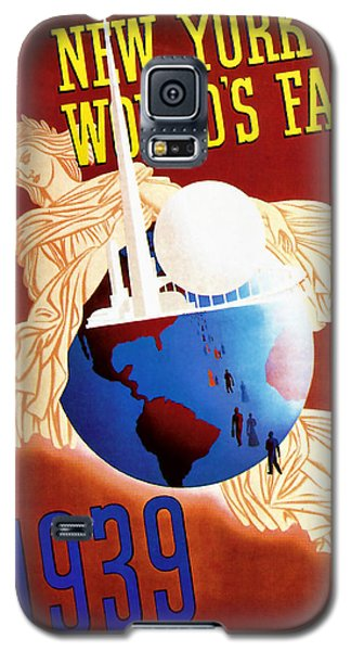 Galaxy S5 Case featuring the mixed media New York Worlds Fair 1939 Vintage Travel Art  by Presented By American Classic Art