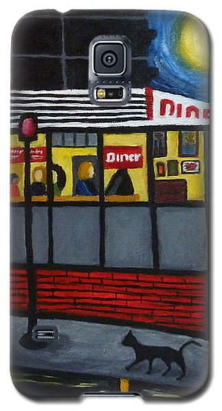 Galaxy S5 Case featuring the painting Night At An Arlington Diner by Victoria Lakes