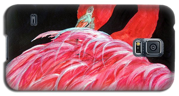 Galaxy S5 Case featuring the painting Night Flamingo by Lil Taylor