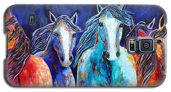 Galaxy S5 Case featuring the painting Night Horse Rendezvous by Jennifer Godshalk