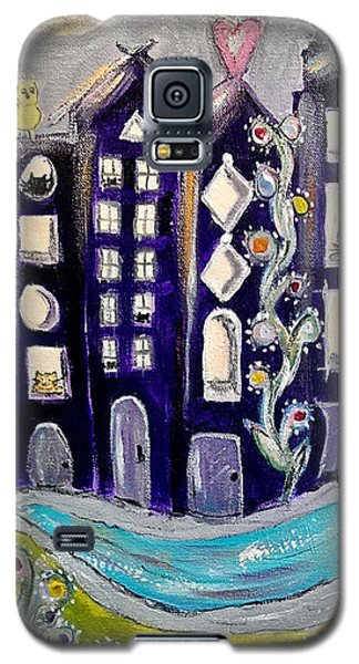 Galaxy S5 Case featuring the painting Night Kittyscape by Lou Belcher