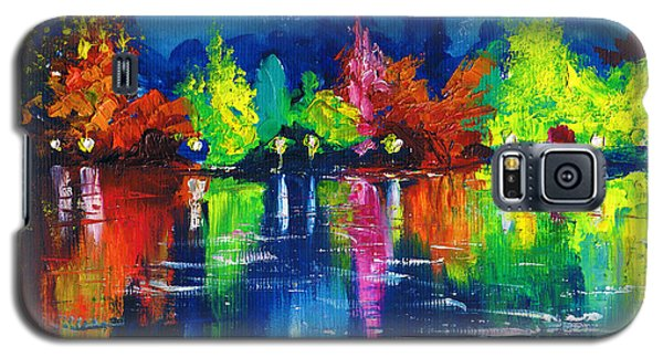 Night Park By The River Lanterns Trees Galaxy S5 Case