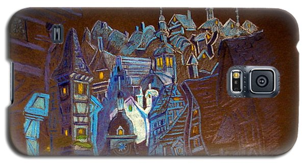 Galaxy S5 Case featuring the drawing Night Scene Tangled Town by Joseph Hawkins